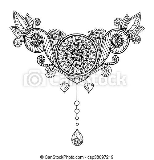 Zénángulo floral étnico, patrón de fondo de garabatos en vector. Henna paisley mehndi doodles diseño tribal. Patrón blanco y negro para colorear libros para adultos y niños. - csp38097219