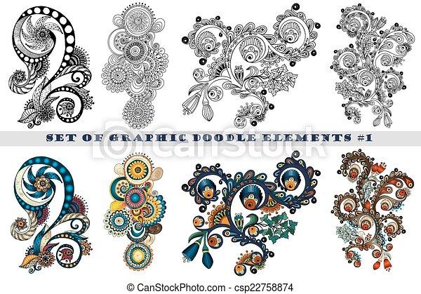Cachemira, conjunto, alheña, diseño, mehndi, doodles, element ...