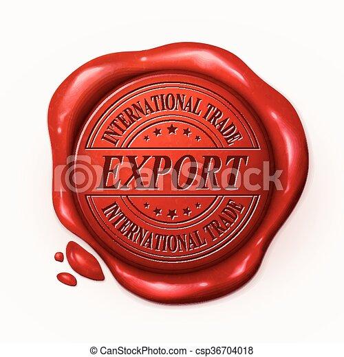 cachet, cire, rouges, exportation, 3d - csp36704018