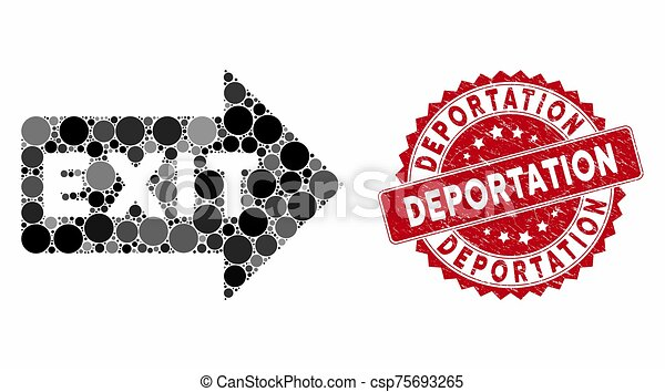 cachet, flèche, deportation, collage, sortie, détresse - csp75693265