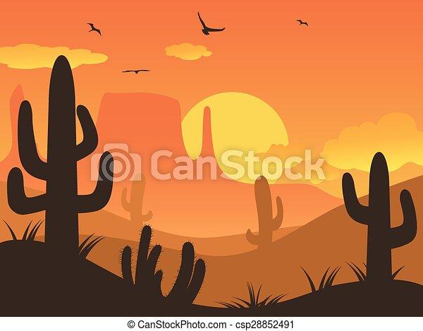 El desierto de cactus Sunset - csp28852491