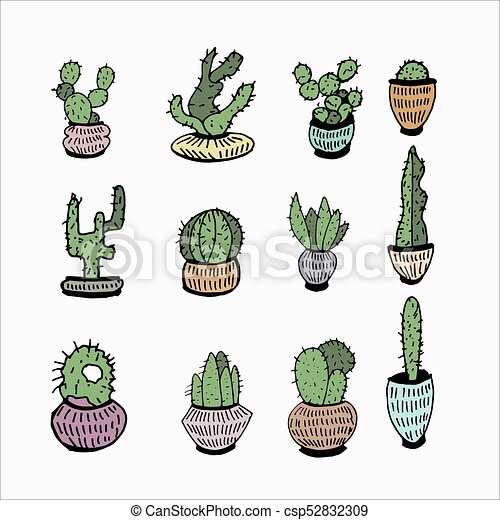 Cactus And Succulent Hand Drawn Set Doodle Flowers In Pots Vector
