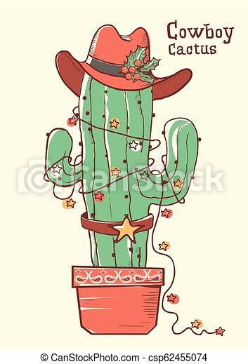 Cactus christmas with cowboy hat .Vector hand drawn illustration - csp62455074