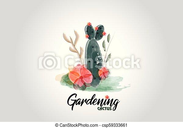 Cactus floral watercolor logo - csp59333661