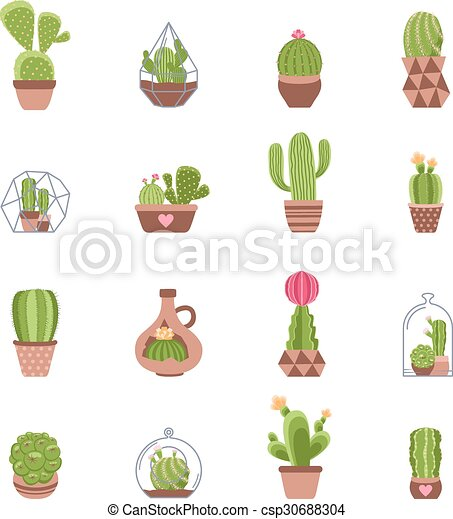 cactus icons set different types of cactus with flowers icons set