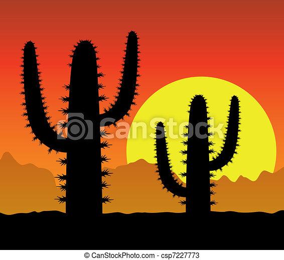 cactus in desert - csp7227773
