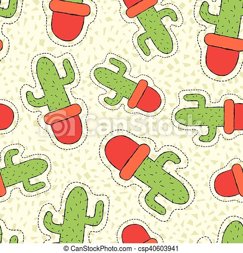 Cactus plant hand drawn patch on seamless pattern - csp40603941