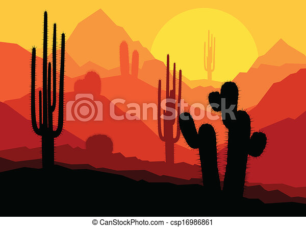 Cactus plants in Mexico desert sunset vector - csp16986861