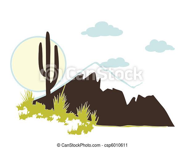 Cactus saguaro And Mountains. Vector - csp6010611