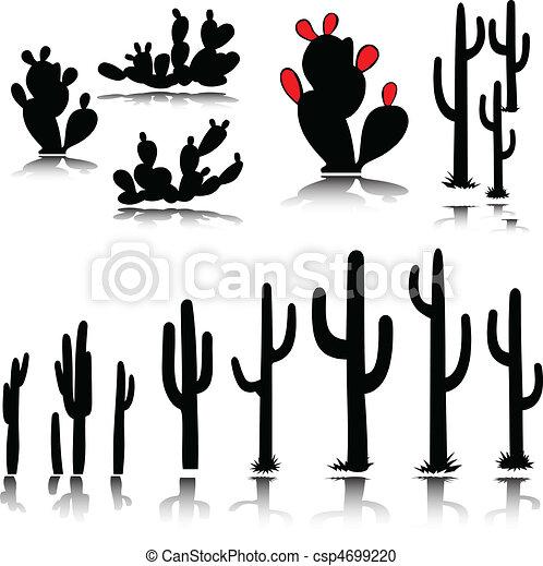 cactus vector silhouettes - csp4699220