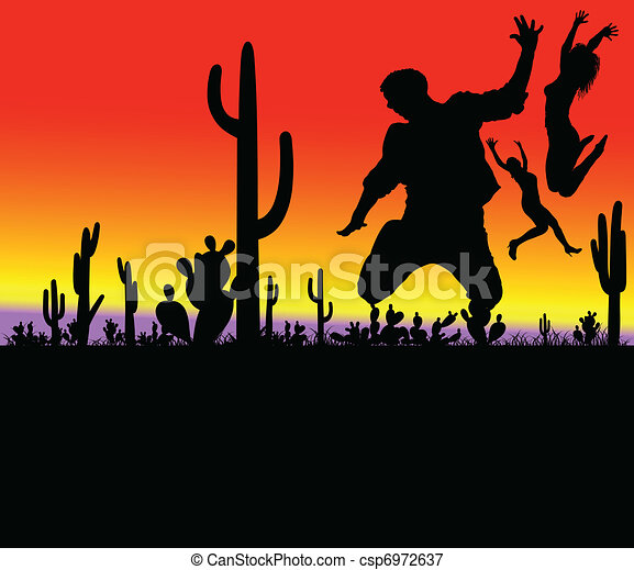 cactus with jumping people - csp6972637
