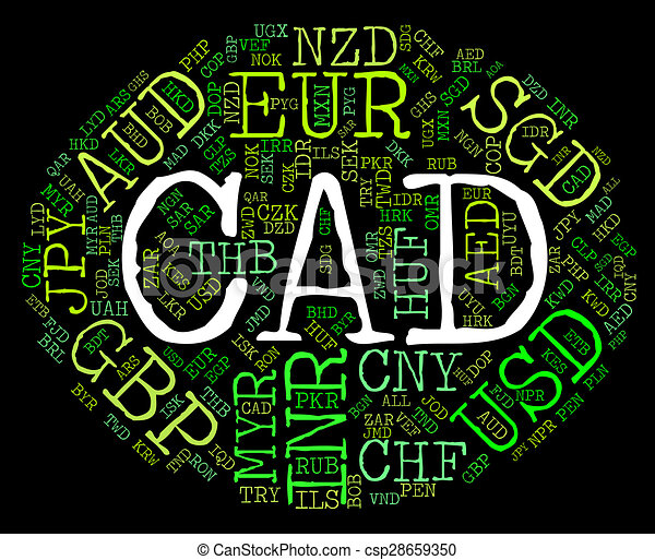 Cad Currency Represents Forex Trading And Coin Cad Currency Showing