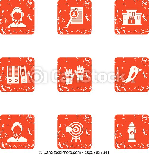 Cadastre icons set, grunge style - csp57937341