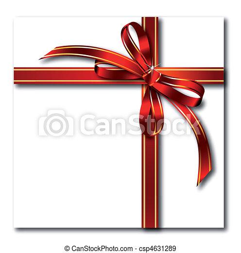 cadeau, arc or, vecteur, tape., rouges - csp4631289