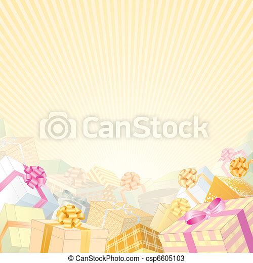 cadeau, beige, toile de fond - csp6605103