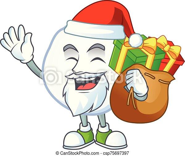 cadeau, caractère, dessin animé, boule de neige, conception, sac, santa - csp75697397