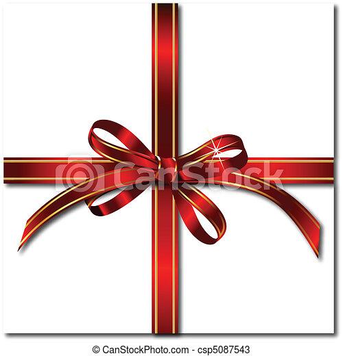 cadeau, vecteur, rouges, bow. - csp5087543