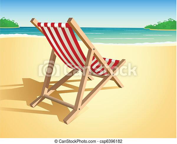 cadeira, vetorial, praia - csp6396182