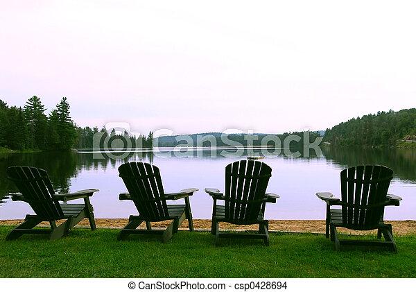 cadeiras, lago - csp0428694