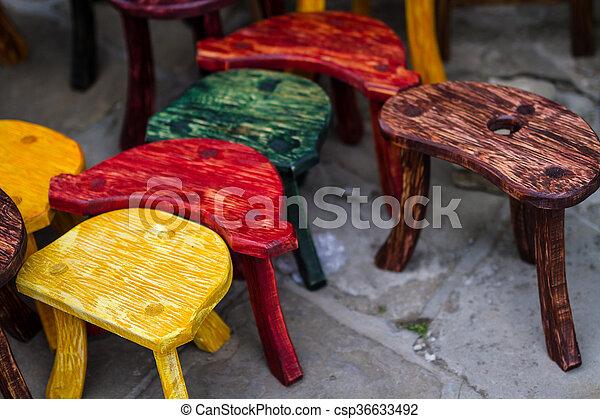cadeiras, moda, antigas, colorido, mercado - csp36633492