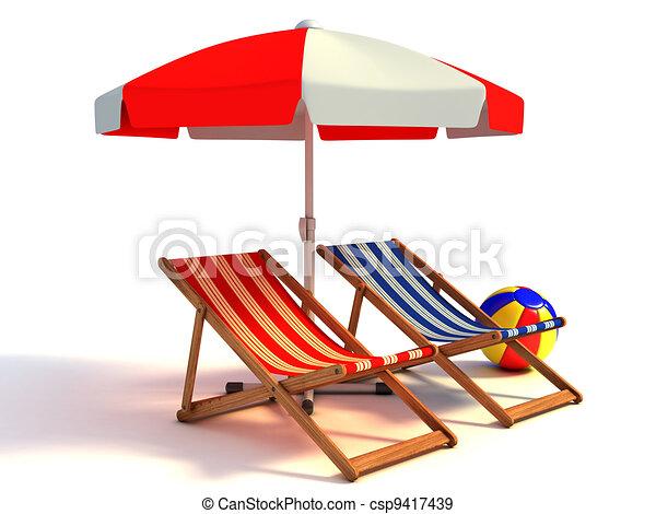 Cadeiras, sob, praia, guarda-sol, dois. Cadeiras, guarda-sol ... be5b7ebeaa