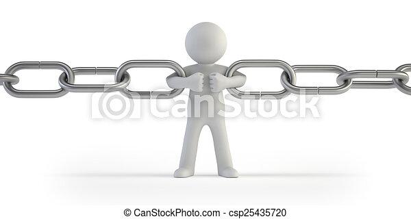 cadena, gente, -, enlace, pequeño, 3d - csp25435720