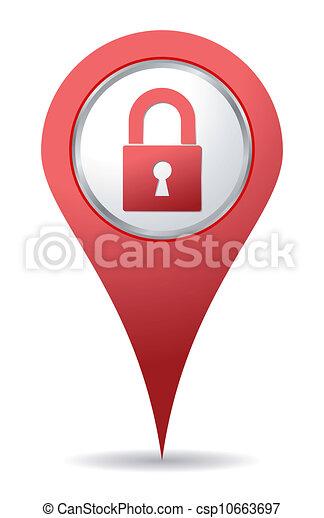 cadenas, emplacement, rouges, icône - csp10663697
