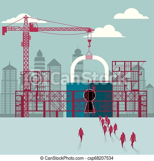 cadenas, hommes affaires, construction., site., bâtiment, sous, groupe, marché - csp68207534
