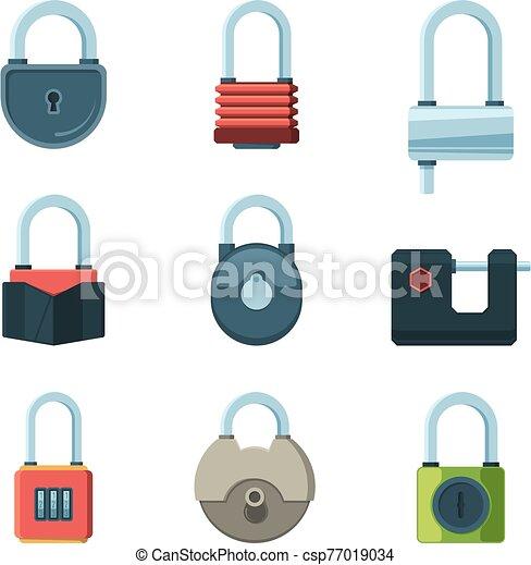 cadenas, symboles, vecteur, sécurité, mécanique, ensemble, plat, images, lock. - csp77019034
