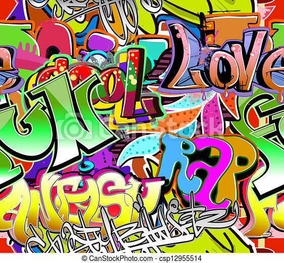 La pared del grafiti. Trasfondo vector urbano. Textura de cadera sin costura - csp12955514