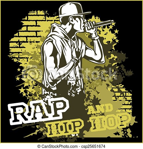 Rapper urbano, ilustración vectorial hip hop - csp25651674