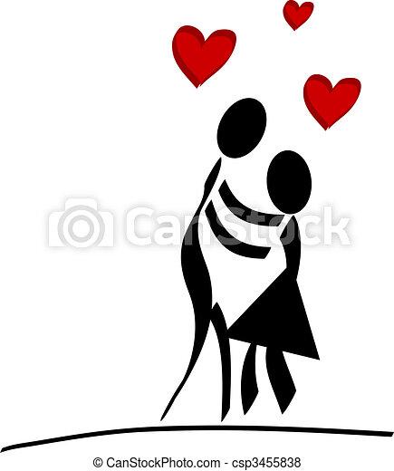 Cadere Amore Tutto Coppia Love Isolato Stilizzato Fondo