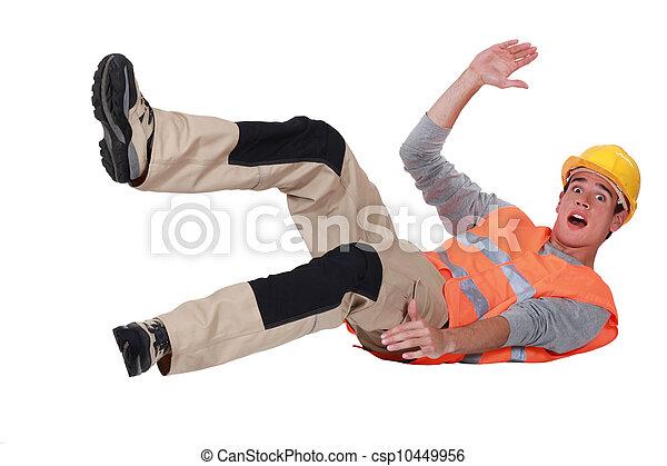cadere, lavoratore costruzione, sopra - csp10449956