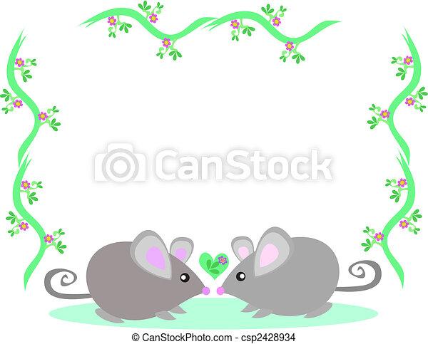 cadre, aimer, souris, deux - csp2428934