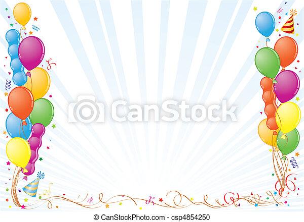 Cadre Anniversaire balloon, cadre, anniversaire, élément, vecteur, clipart vectoriel
