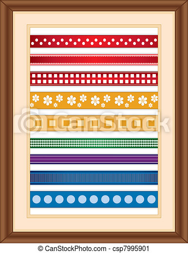 cadre, bois, ruban, échantillonneur - csp7995901