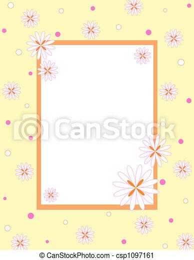 cadre, fleurs - csp1097161