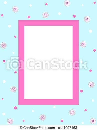 cadre, fleurs - csp1097163