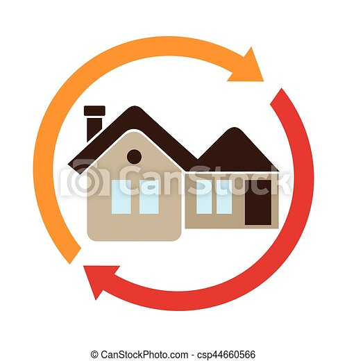 Cadre maison fl ches circulaire cadre maison fl ches for Logo avec une maison