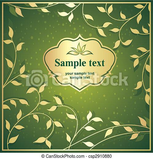 cadre, or, fond, vert - csp2910880