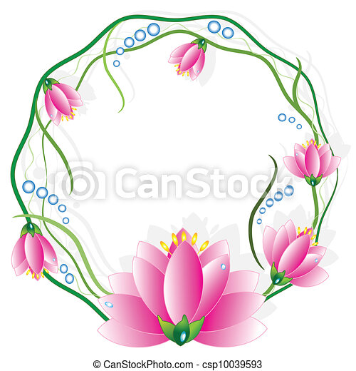 cadre, rond, vector., lotuses - csp10039593