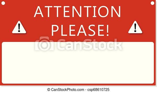 cadre, texte, attention - csp68610725