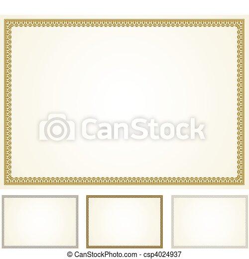 cadre, vecteur, ensemble, certificat - csp4024937