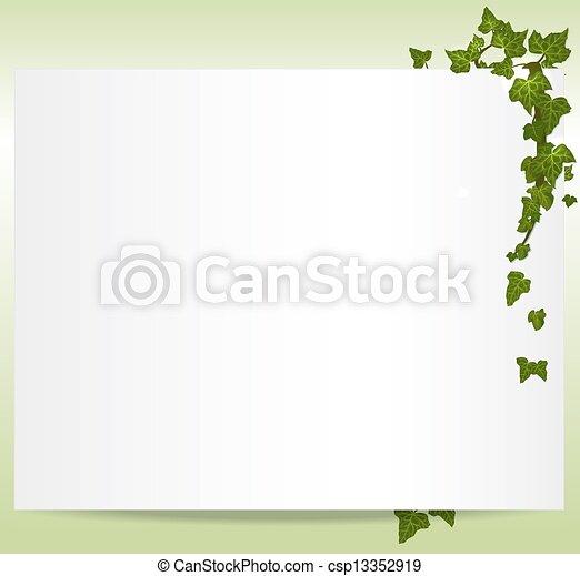 cadre, vecteur, spring/summer, feuilles, lierre - csp13352919