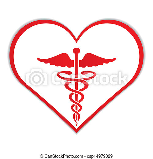 caduceus in heart medical symbol vector vector illustration rh canstockphoto ie