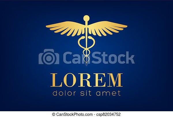 caduceus medical logo vector design - csp82034752
