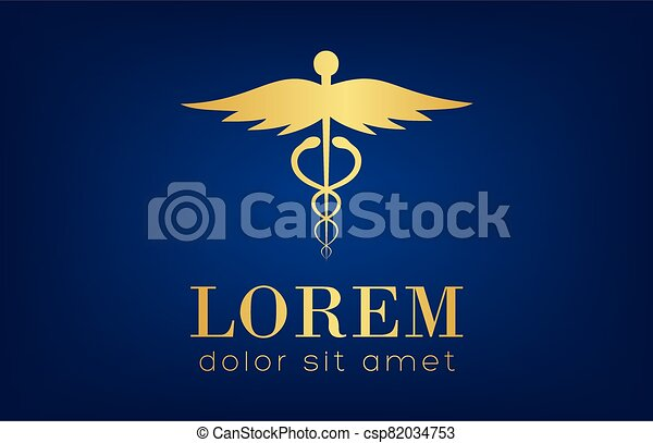 caduceus medical logo vector design - csp82034753