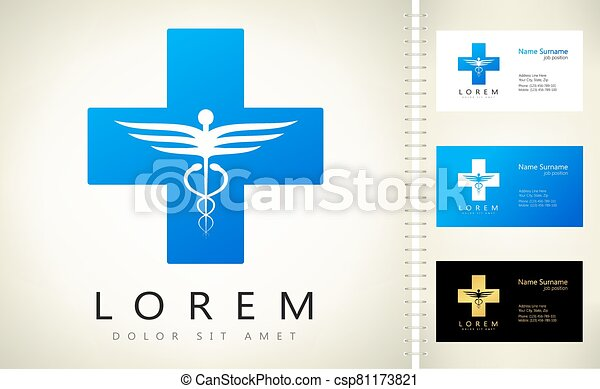 caduceus medical logo vector design - csp81173821