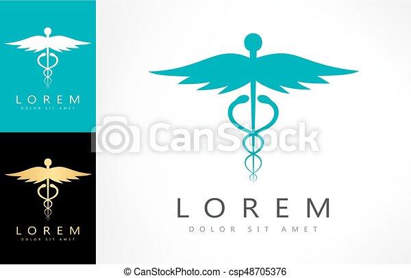 caduceus medical logo vector design - csp48705376