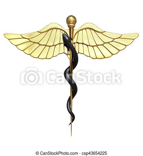 Caduceus Medical Symbol and Black Snake - csp43654225